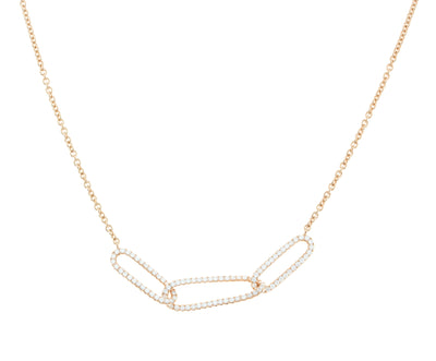 Ladies Chain with Three Diamond Link Pendant