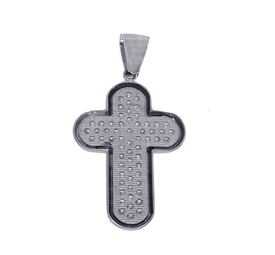 Unisex White Gold Cross with Diamonds