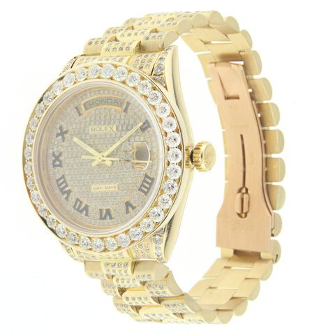 18K Yellow Gold Rolex Diamond Watch, Day Date President 36mm, Diamond with Roman Numerals dial W/ 12CT Diamond Bezel & Lugs