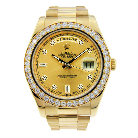 18K Yellow Gold Rolex Day Date II 41mm Champagne Diamond Dial & 5CT Diamond Bezel