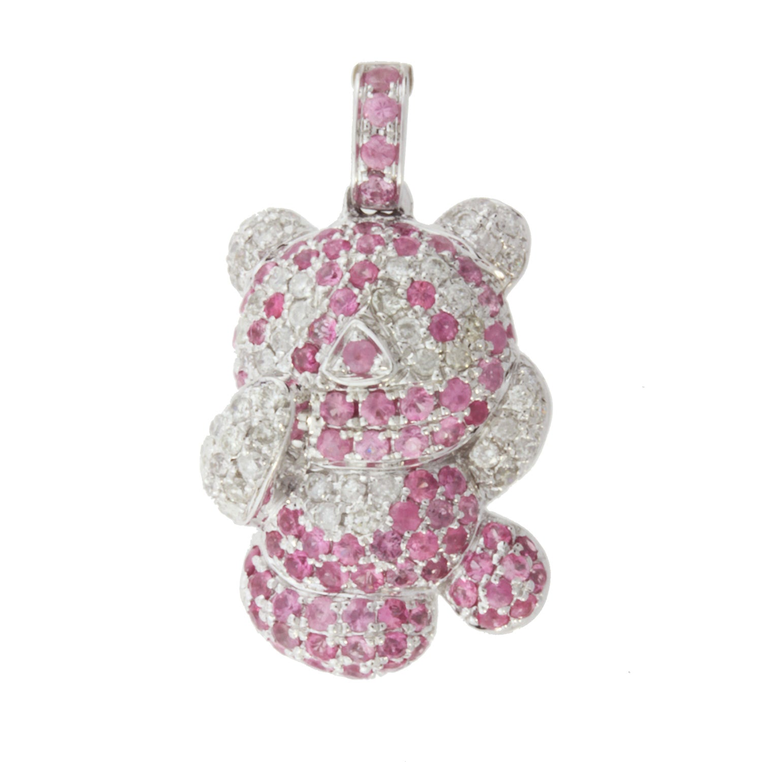 Ladies Diamond and Pink Sapphire Teddy Bear Pendant