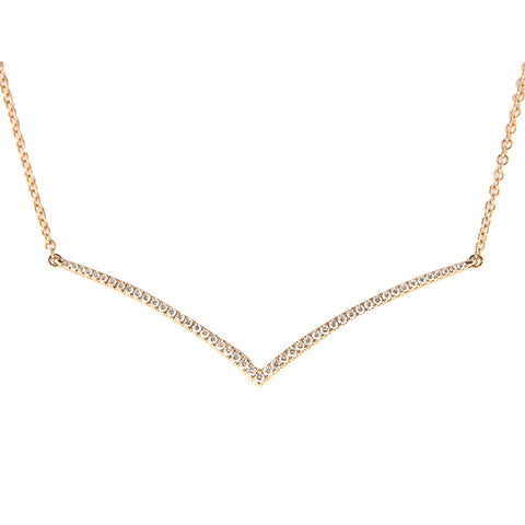18K Rose And Yellow Gold Diamond Chevron Pendant with Chain 0.39CT