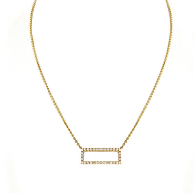 Diamond Rectangle Pendant with Chain