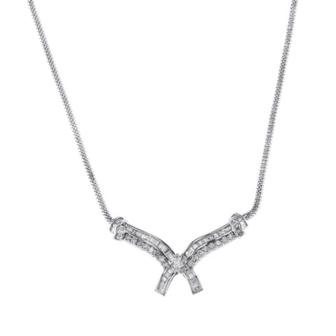 14K White Gold Diamond Chain With Marquise Center Stone