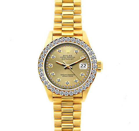 18k Yellow Gold Rolex Datejust Diamond Watch, 26mm, President Bracelet Champagne Dial w/Diamond Bezel