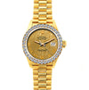 18k Yellow Gold Rolex Datejust Diamond Watch, 26mm, President Bracelet Champagne Dial w/ Diamond Bezel