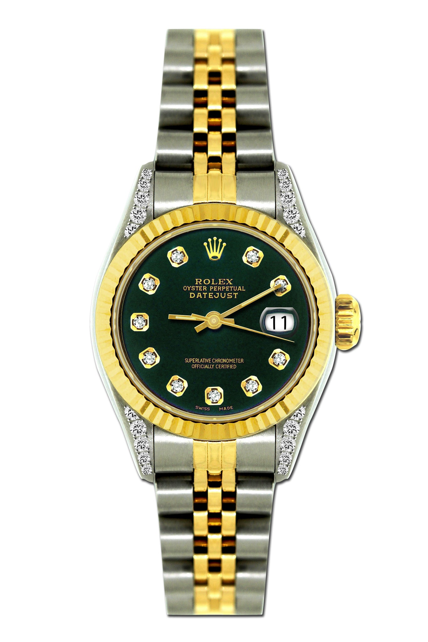 Rolex Datejust Diamond Watch, 26mm, Yellow Gold and Stainless Steel Bracelet Sherpa Blue Dial w/ Diamond Lugs
