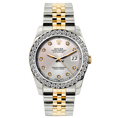Rolex Datejust 26mm Yellow Gold and Stainless Steel Bracelet Martini Dial w/ Diamond Bezel
