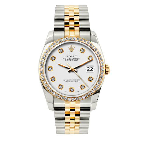Rolex Datejust Diamond Watch, 36mm, Yellow Gold and Stainless Steel Bracelet White Dial w/ Diamond Bezel