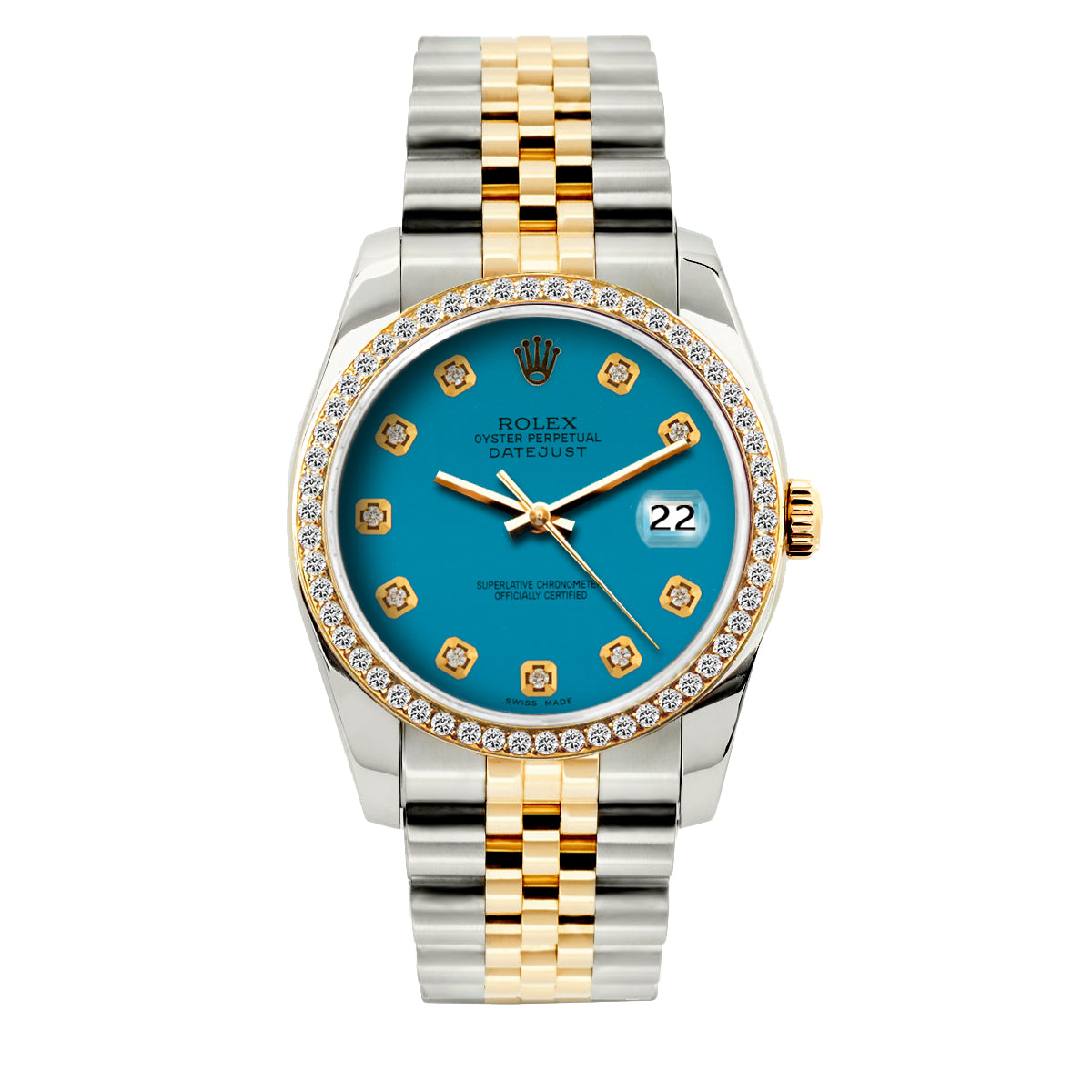 Rolex Datejust 36mm Yellow Gold and Stainless Steel Bracelet Blue Dial w/ Diamond Bezel