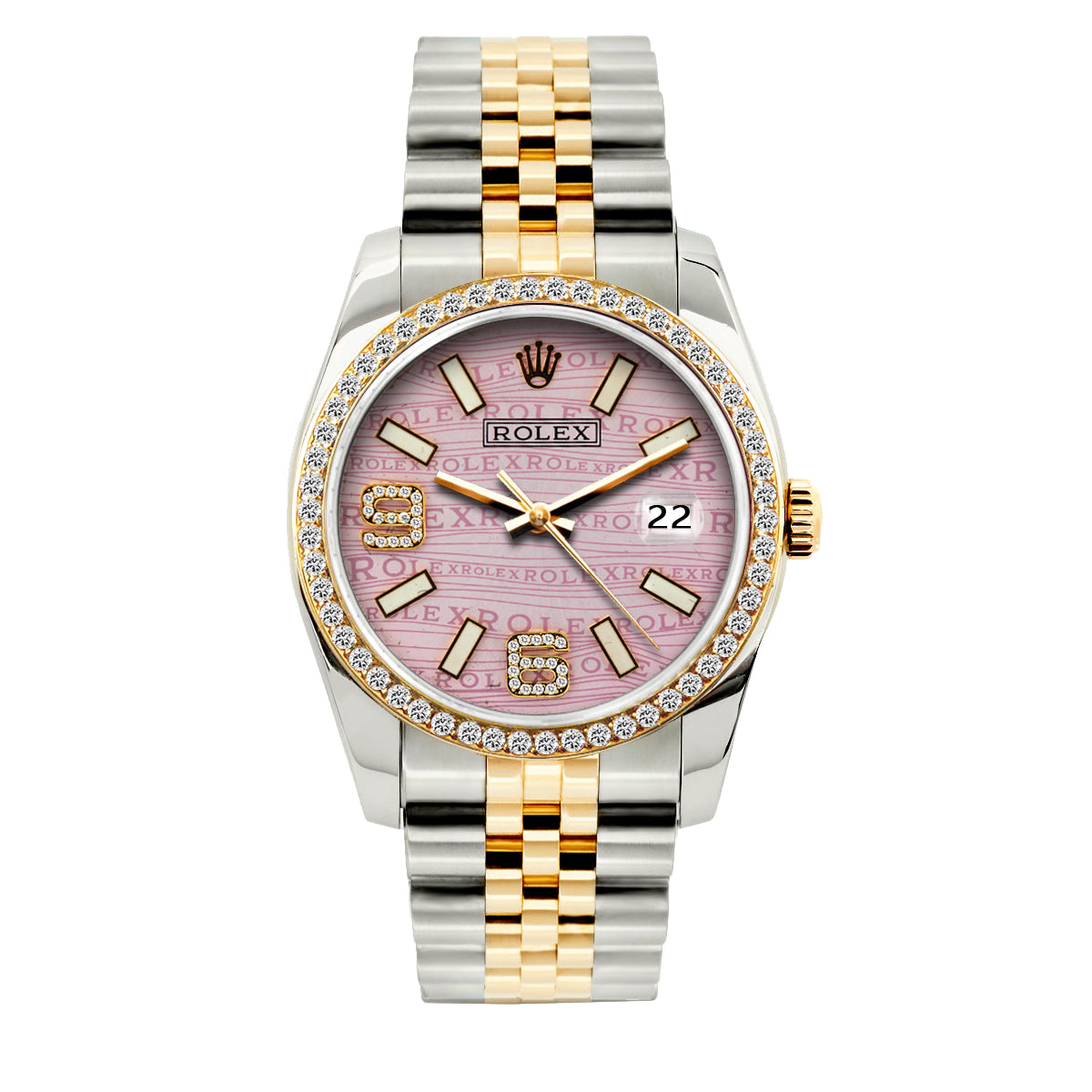 Rolex Datejust 36mm Yellow Gold and Stainless Steel Bracelet Light Pink Rolex Dial w/ Diamond Bezel