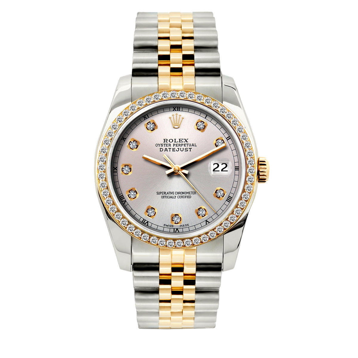 Rolex Datejust Diamond Watch, 36mm, Yellow Gold and Stainless Steel Bracelet Light Lavender Dial w/ Diamond Bezel