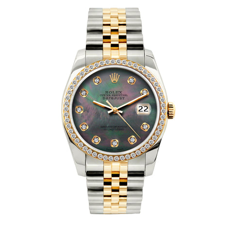 Rolex Datejust Diamond Watch, 36mm, Yellow Gold and Stainless Steel Bracelet Black Mother of Pearl Dial w/ Diamond Bezel
