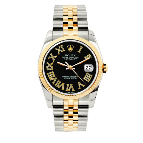 Rolex Datejust 36mm Yellow Gold and Stainless Steel Bracelet Black Roman Numeral Dial