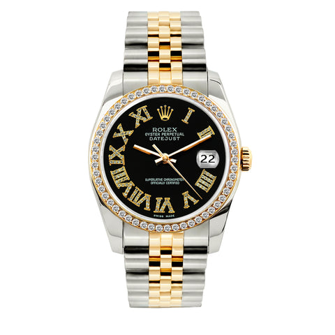 Rolex Datejust 36mm Yellow Gold and Stainless Steel Bracelet Black Roman Dial w/ Diamond Bezel