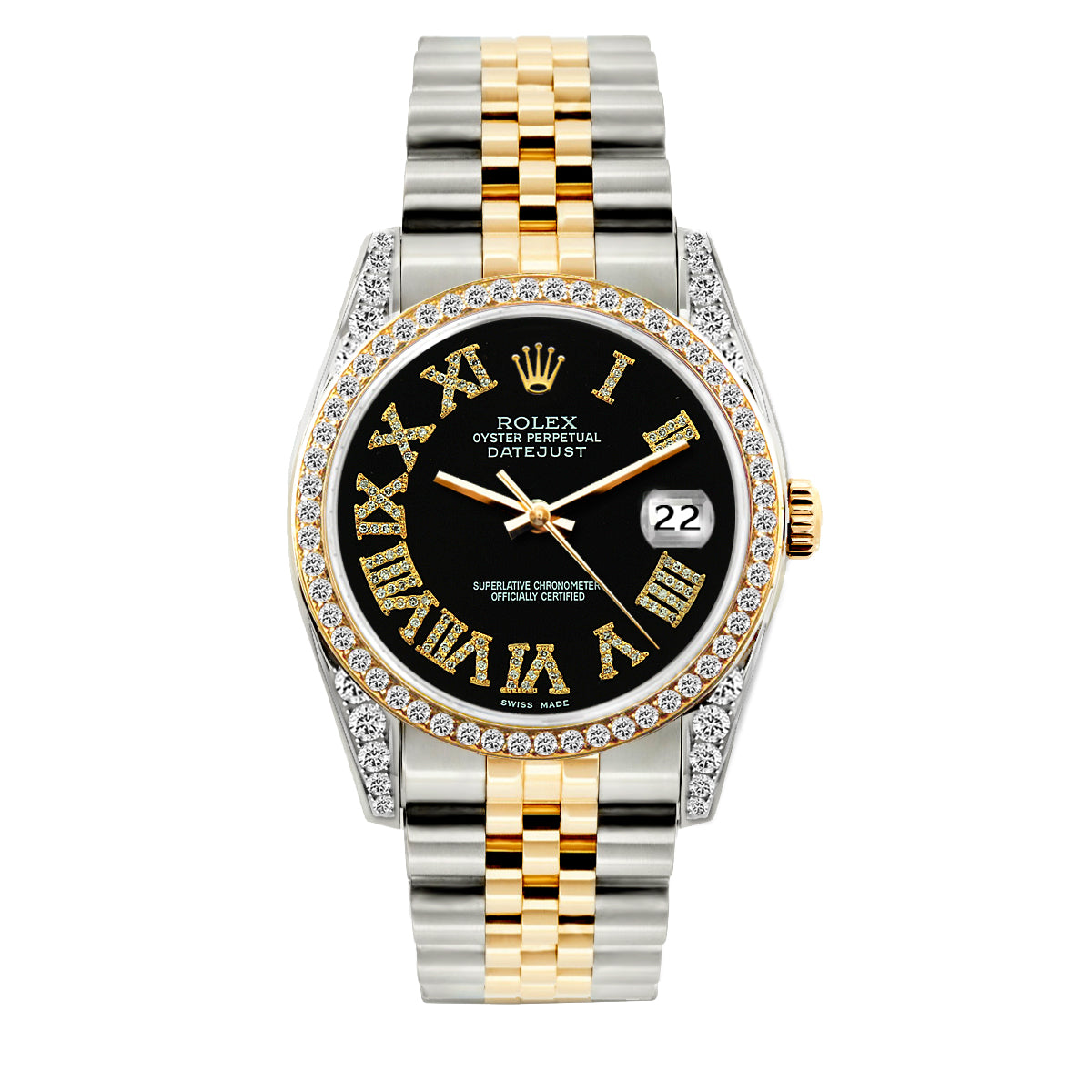 Rolex Datejust Diamond Watch, 36mm, Yellow Gold and Stainless Steel Black Roman Dial w/ Diamond Bezel and Lugs