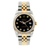Rolex Datejust Diamond Watch, 36mm, Yellow Gold and Stainless Steel Bracelet Black Dial w/ Diamond Bezel