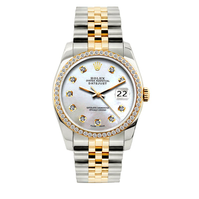 Rolex Datejust 36mm Yellow Gold and Stainless Steel Bracelet Platinum Lavander Dial w/ Diamond Bezel