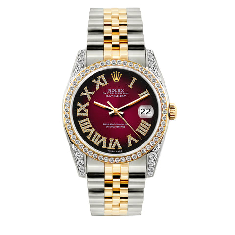 Rolex Datejust Diamond Watch, 36mm, Yellow Gold and Stainless Steel Red Black Dial w/ Diamond Bezel and Lugs