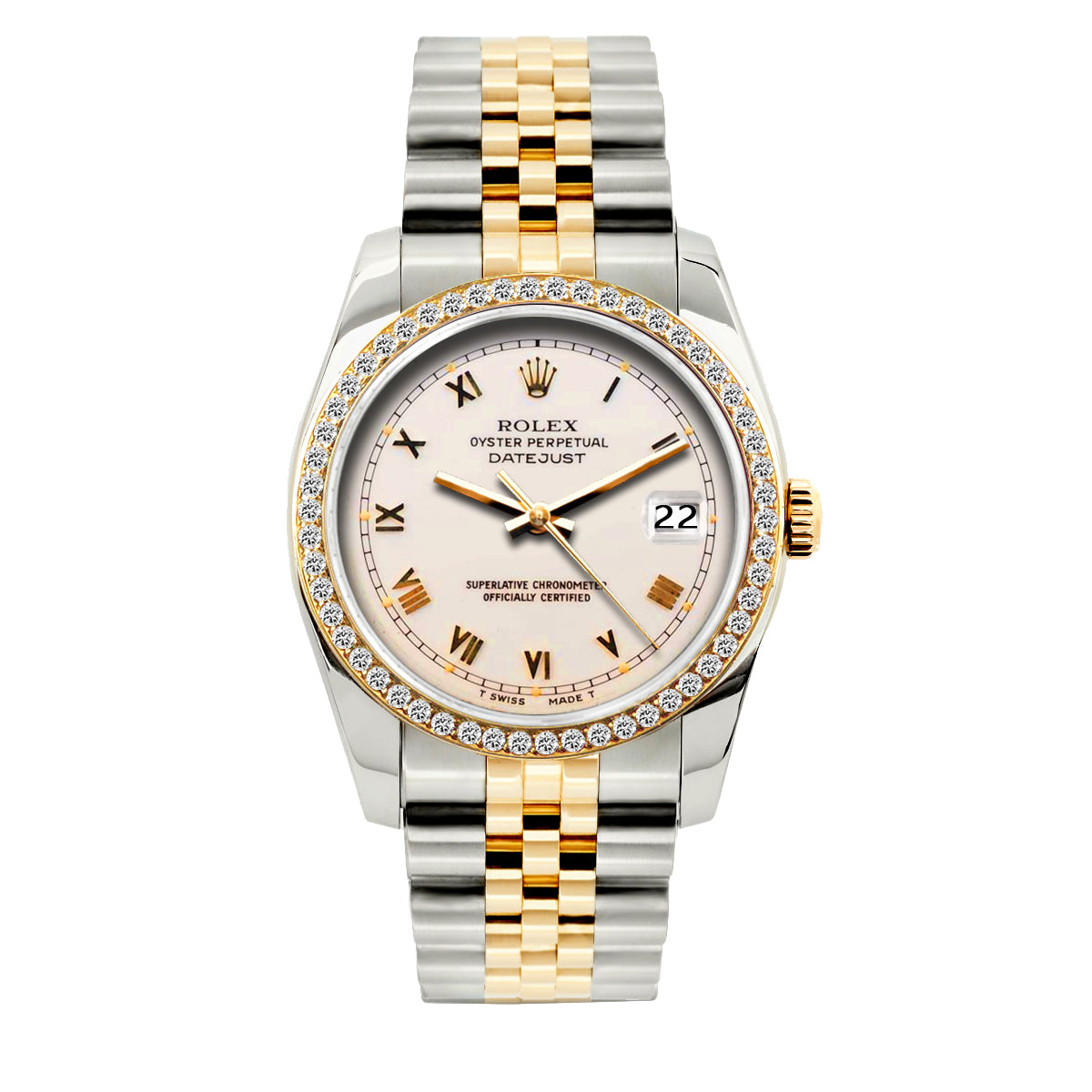Rolex Datejust 36mm Yellow Gold and Stainless Steel Bracelet Pink Pastel Dial w/ Diamond Bezel