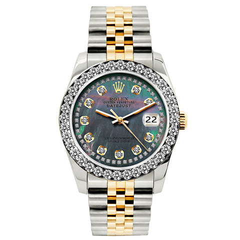 Rolex Datejust Diamond Watch, 26mm, Yellow Gold and Stainless Steel Bracelet Black Mother Of Pearl Dial w/ Diamond Bezel