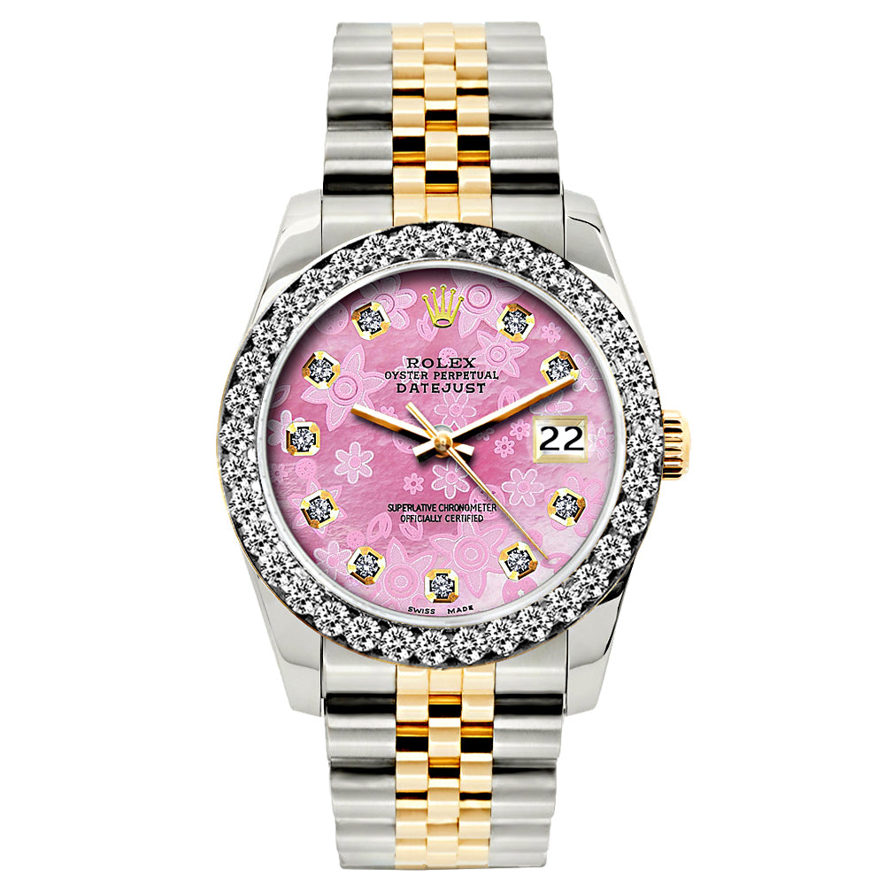 Rolex Datejust Diamond Watch, 26mm, Yellow Gold and Stainless Steel Bracelet Pink Flower Dial w/ Diamond Bezel