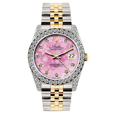 Rolex Datejust 26mm Yellow Gold and Stainless Steel Bracelet Pink Flower Dial w/ Diamond Bezel and Lugs