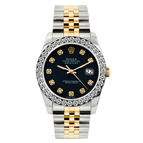 Rolex Datejust Diamond Watch, 26mm, Yellow Gold and Stainless Steel Bracelet Black Dial w/ Diamond Bezel