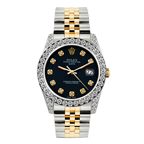Rolex Datejust Diamond Watch, 26mm, Yellow Gold and Stainless Steel Bracelet Black Dial w/ Diamond Bezel and Lugs