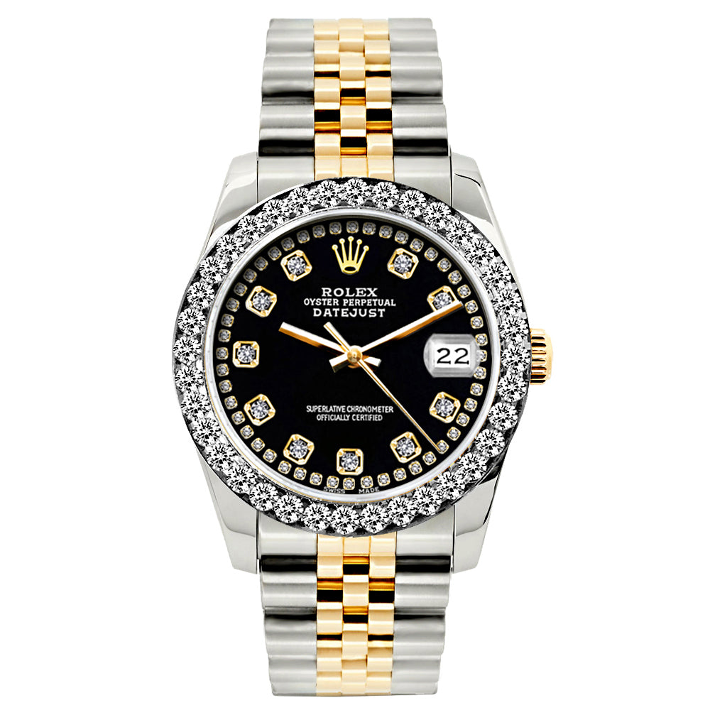 Rolex Datejust 26mm Yellow Gold and Stainless Steel Bracelet Black Border Dial w/ Diamond Bezel