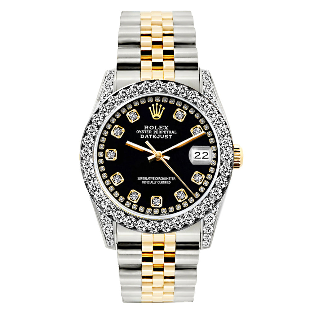 Rolex Datejust Diamond Watch, 26mm, Yellow Gold and Stainless Steel Bracelet Black Border Dial w/ Diamond Bezel and Lugs