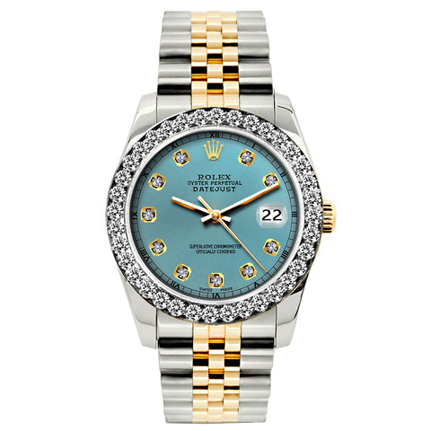 Rolex Datejust Diamond Watch, 26mm, Yellow Gold and Stainless Steel Bracelet Ice Blue Dial w/ Diamond Bezel