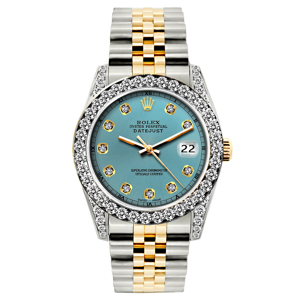 Rolex Datejust Diamond Watch, 26mm, Yellow Gold and Stainless Steel Bracelet Ice Blue Dial w/ Diamond Bezel and Lugs