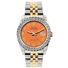 Rolex Datejust 26mm Yellow Gold and Stainless Steel Bracelet Orange Dial w/ Diamond Bezel
