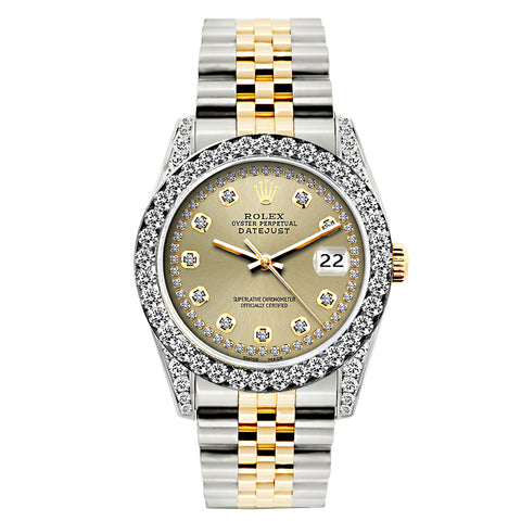 Rolex Datejust Diamond Watch, 26mm, Yellow Gold and Stainless Steel Bracelet Gold Dial w/ Diamond Bezel and Lugs