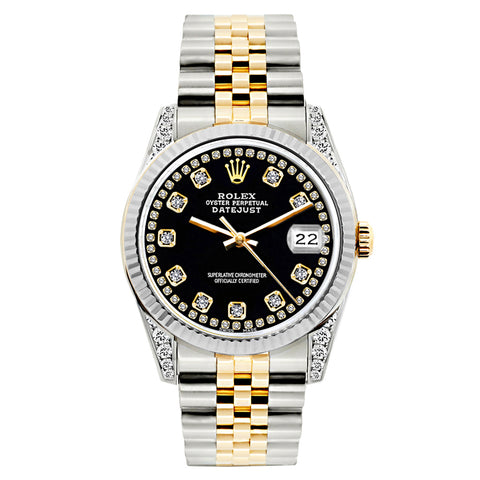Rolex Datejust Diamond Watch, 26mm, Yellow Gold and Stainless Steel Bracelet Black Dial w/ Diamond Lugs