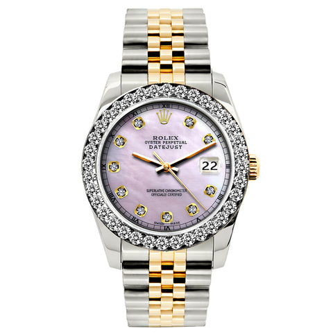 Rolex Datejust 26mm Yellow Gold and Stainless Steel Bracelet Lavender Dial w/ Diamond Bezel