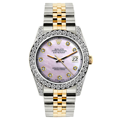 Rolex Datejust 26mm Yellow Gold and Stainless Steel Bracelet Lavander Dial w/ Diamond Bezel and Lugs