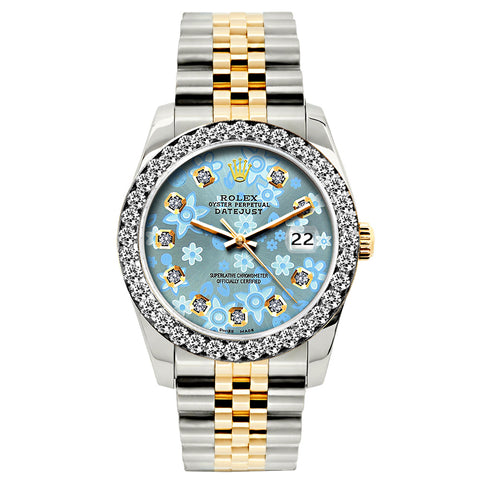 Rolex Datejust Diamond Watch, 26mm, Yellow Gold and Stainless Steel Bracelet Ice Blue Floral Dial w/ Diamond Bezel