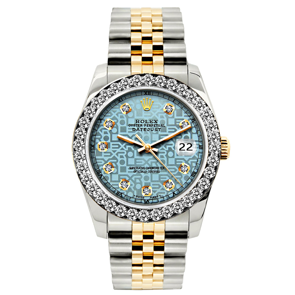 Rolex Datejust 26mm Yellow Gold and Stainless Steel Bracelet Blue Rolex Dial w/ Diamond Bezel