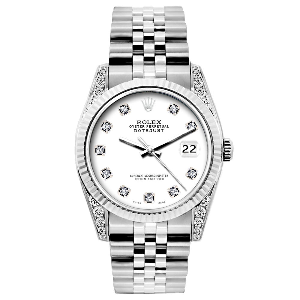 Rolex Datejust Diamond Watch, 26mm, Stainless SteelBracelet White Dial w/ Diamond Lugs
