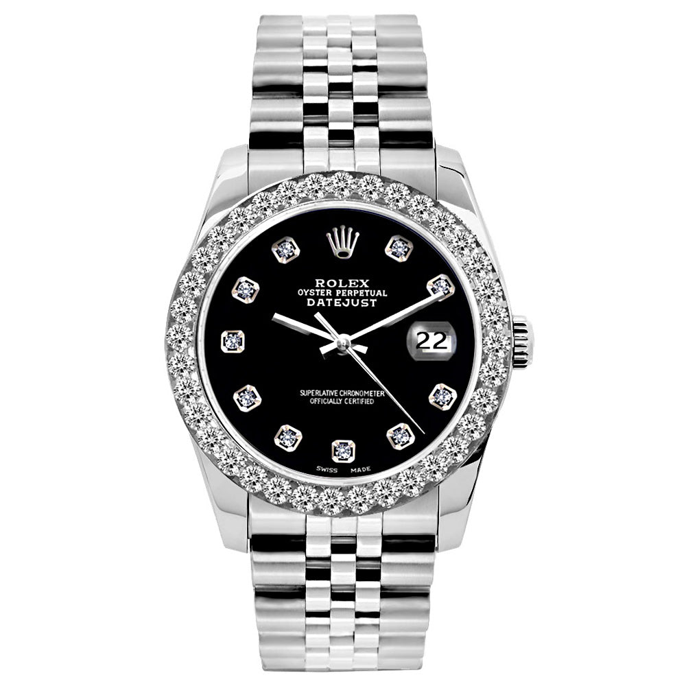 Rolex Datejust 26mm Stainless Steel Bracelet Jet Black Dial w/ Diamond Bezel