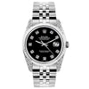 Rolex Datejust 26mm Stainless Steel Bracelet Jet Black Dial w/ Diamond Lugs