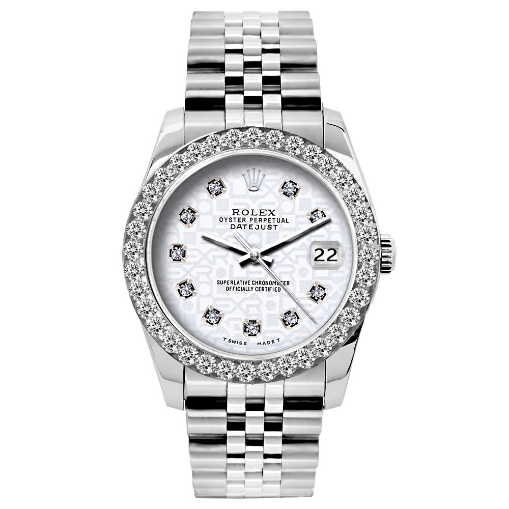 Rolex Datejust Diamond Watch, 26mm, Stainless SteelBracelet White Rolex Dial w/ Diamond Bezel