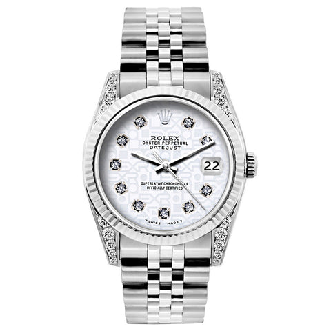 Rolex Datejust 26mm Stainless Steel Bracelet Rolex White Dial w/ Diamond Lugs