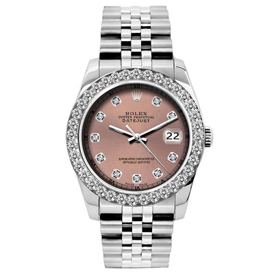Rolex Datejust 26mm Stainless Steel Bracelet Rust Dial w/ Diamond Bezel