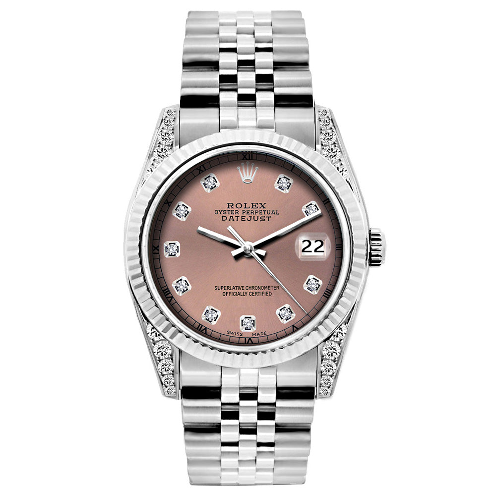 Rolex Datejust Diamond Watch, 26mm, Stainless SteelBracelet Rust Dial w/ Diamond Lugs