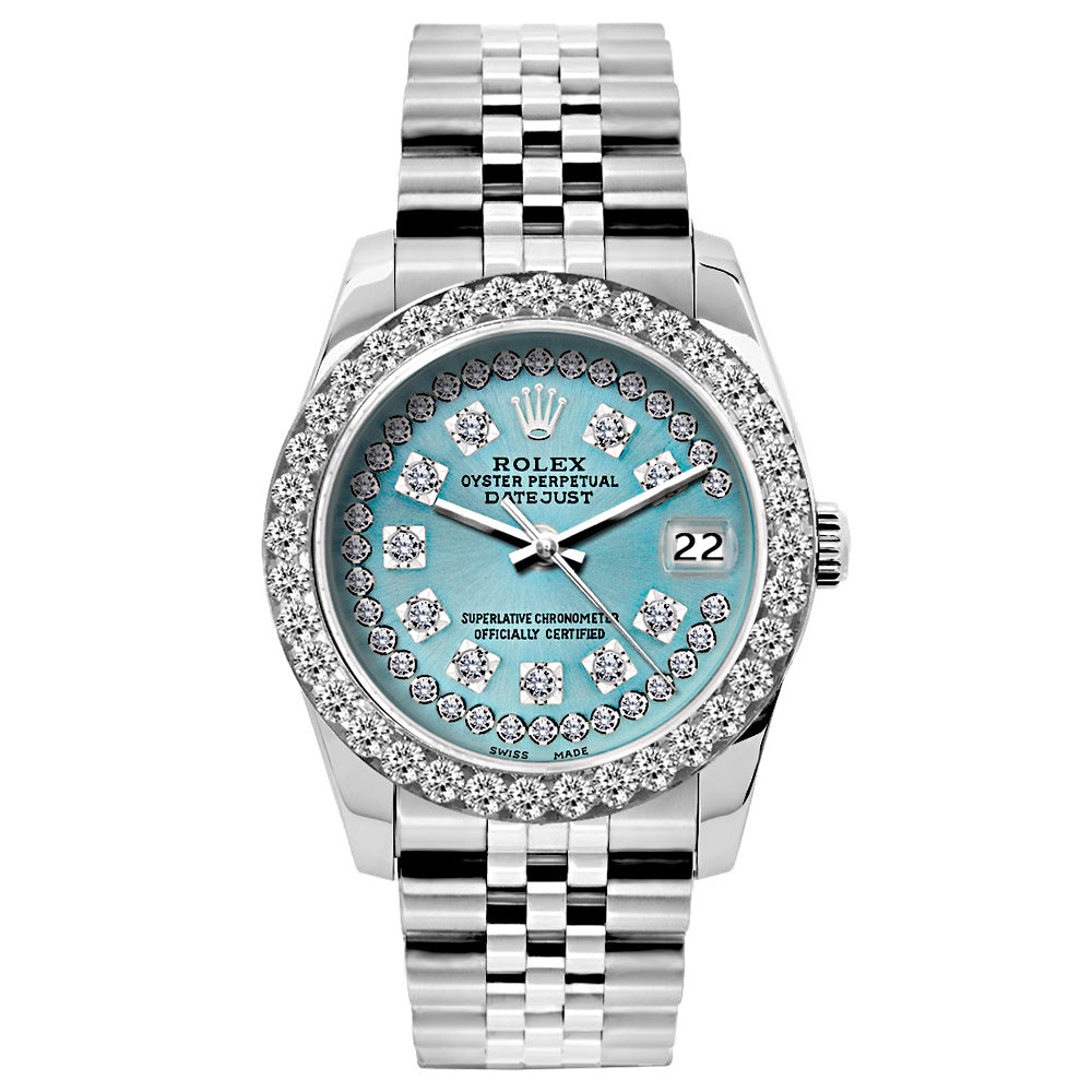 Rolex Datejust Diamond Watch, 26mm, Stainless SteelBracelet Turquoise Dial w/ Diamond Bezel