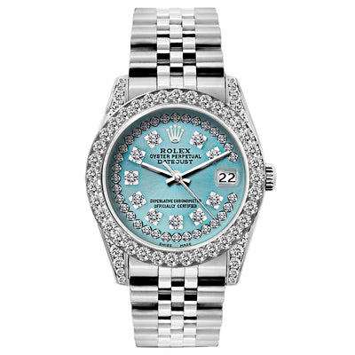 Rolex Datejust 26mm Stainless Steel Bracelet Turquoise Dial w/ Diamond Bezel and Lugs