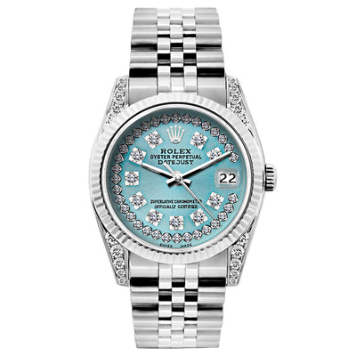Rolex Datejust Diamond Watch, 26mm, Stainless SteelBracelet Turquoise Dial w/ Diamond Lugs